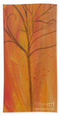 Hand Towel featuring the painting Tree Of Three Coral by Robin Maria Pedrero