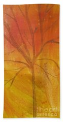 Hand Towel featuring the painting Tree Of Three Gold by Robin Maria Pedrero