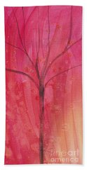 Hand Towel featuring the painting Tree Of Three Pink by Robin Maria Pedrero