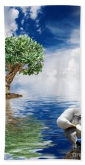 Tree Seagull And Sea Hand Towel by Antonio Scarpi
