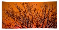 Tree Silhouetted By Irish Sunrise Bath Towel