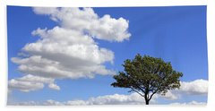 Tree With Clouds Bath Towel