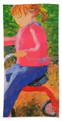 Bath Towel featuring the painting Tricycle by Donald J Ryker III