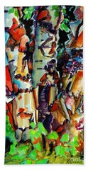 Hand Towel featuring the painting Trio Birch 2014 by Kathy Braud