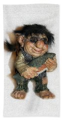 Bath Towel featuring the sculpture Troll Fisherman by Sergey Lukashin