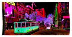 Trolley Night Digital  Bath Towel