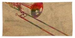 Trombone Brass Instrument Watercolor Portrait On Worn Canvas Hand Towel by Design Turnpike