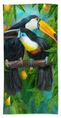Bath Towel featuring the mixed media Tropic Spirits - Toucans by Carol Cavalaris