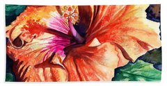 Hand Towel featuring the painting Tropical Hibiscus by Marionette Taboniar