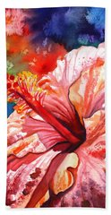 Tropical Pink Hibiscus Hand Towel