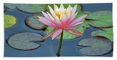 Tropical Pink Lily Hand Towel by Cynthia Guinn