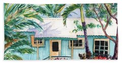 Hand Towel featuring the painting Tropical Vacation Cottage by Marionette Taboniar