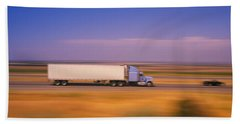 Truck And A Car Moving On A Highway Bath Towel
