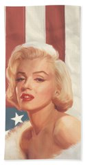 True Blue Marilyn In Flag Hand Towel by Chris Consani