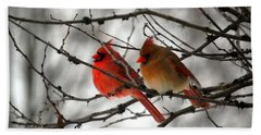 Hand Towel featuring the photograph True Love Cardinal by Peggy Franz