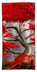 True Love Waits - Red And Gray Art Bath Towel