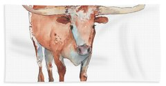 Square Walking Tall Texas Longhorn Watercolor Painting By Kmcelwaine Hand Towel by Kathleen McElwaine
