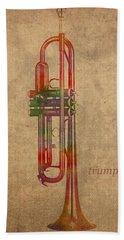 Trumpet Brass Instrument Watercolor Portrait On Worn Canvas Hand Towel