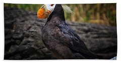 Tufted Puffin Hand Towel by Mark Kiver