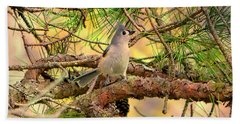 Tufted Titmouse Bath Towel by Deena Stoddard