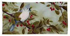Tufted Titmouse Hand Towel by Rick Bainbridge