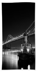 Tugboat Under The Bay Bridge Hand Towel