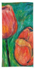 Bath Towel featuring the painting Tulip Dance by Kendall Kessler