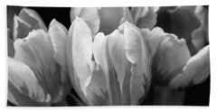 Tulip Flowers Black And White Bath Towel