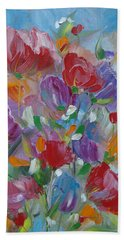 Hand Towel featuring the painting Tulip Symphony by Judith Rhue