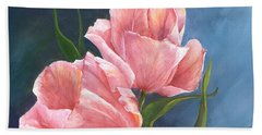 Hand Towel featuring the painting Tulip Waltz by Sherry Shipley