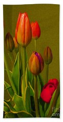 Tulips Against Green Hand Towel