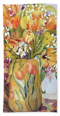 Tulips And Narcissi In An Art Nouveau Vase Hand Towel