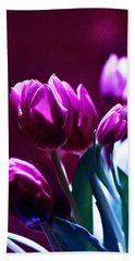 Purple Tulips Bath Towel
