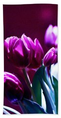 Tulips In Purple Bath Towel