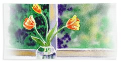 Tulips On The Window Hand Towel