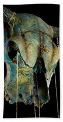 Turquoise And Gold Illuminating Steer Skull Hand Towel by Mayhem Mediums