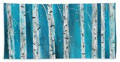 Turquoise Birch Trees II- Turquoise Art Bath Towel