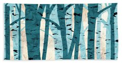 Turquoise Birch Trees Bath Towel