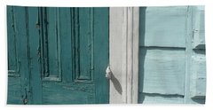 Turquoise Door Hand Towel by Valerie Reeves