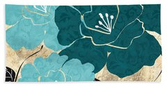 Turquoise Flowers Hand Towel