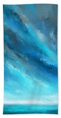 Turquoise Memories - Turquoise Abstract Art Hand Towel