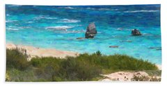 Bath Towel featuring the photograph Turquoise Ocean And Pink Beach by Verena Matthew
