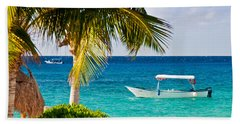 Bath Towel featuring the photograph Turquoise Waters In Cozumel by Mitchell R Grosky