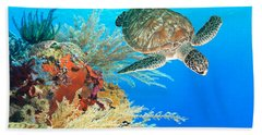 Turtle And Coral Hand Towel