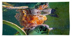 Turtle Reflection Hand Towel by Carey Chen