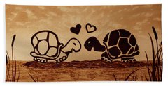 Turtles Love Coffee Painting Bath Towel by Georgeta  Blanaru
