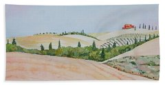 Bath Towel featuring the painting Tuscan Hillside One by Mary Ellen Mueller Legault