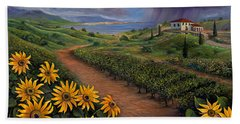 Tuscan Landscape Bath Towel by Claudia Goodell