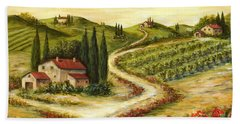 Tuscan Road With Poppies Bath Towel