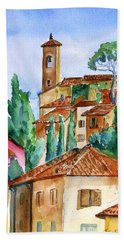Bath Towel featuring the painting Tuscan Rooftops  -montecatini Alto by Trudi Doyle